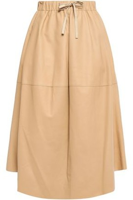 Vince Flared Leather Midi Skirt