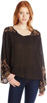 Angie Juniors Long Sleeve Printed Top, /Brown