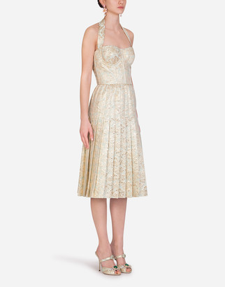 Dolce & Gabbana Bustier Midi Dress In Lame Jacquard