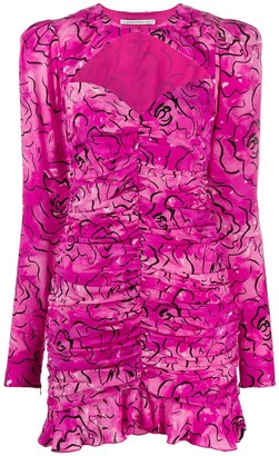 Alessandra Rich Ruched Floral Print Dress