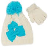 Pink Platinum Cream & Blue Bow Beanie & Glove Set