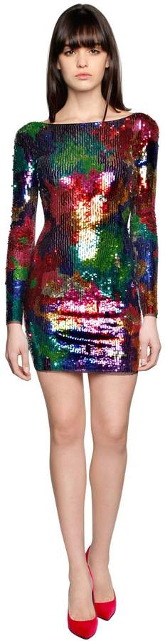 Amen Sequined Mesh Mini Dress