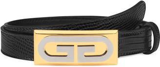 Gucci G-Plaque Genuine Lizardskin Skinny Belt
