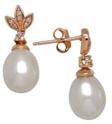 Lord & Taylor 7-9MM White Freshwater Pearl, Diamond and 14K Rose Gold Drop Earrings