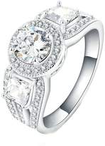KnBoB Plated Womens Engagement Rings Square Zirconia White CZ Ring Size US 7