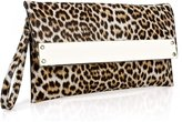BMC Womens Animal Print Thin Faux Leather Flap Clutch Handbag