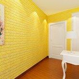 Brick Stone Wallpaper,Han Shi PE Foam 3D DIY Wall Stickers Wall Decor Embossed Art Murals (L, Yellow)