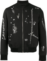 Alexander McQueen safety pin print bomber jacket - men - Cotton/Polyester/Viscose/Wool - 50