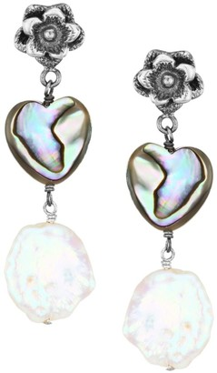 Chan Luu Sterling Silver, Shell & 13-14MM Baroque Pearl Heart Drop Earrings