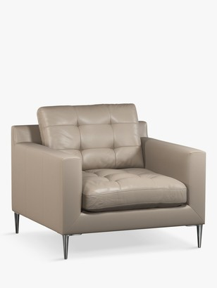 John Lewis & Partners Draper Leather Armchair, Metal Leg