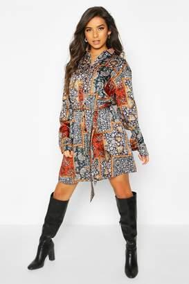 boohoo Paisley Chain Print Shirt Dress