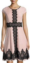 Jax Textured Fit & Flare Dress, Blush