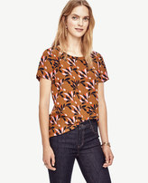 Ann Taylor Swirling Floral Silk Tee