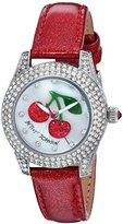 Betsey Johnson Women's Quartz Stainless Steel and Leather Casual Watch, Color:Red (Model: BJ00193-09)