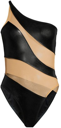 Norma Kamali Snake Mesh One-Shoulder One-Piece Swimsuit