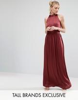 Little Mistress Tall Ruched Pleated Maxi Prom Dress