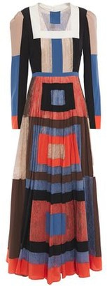 Valentino Color-block Silk Crepe De Chine And Lace Maxi Dress