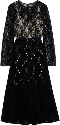 GOEN.J Leavers Lace And Broderie Anglaise Velvet Midi Dress