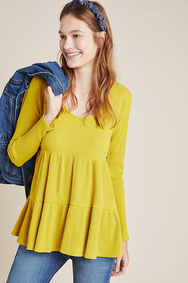 Maeve Samina Thermal Babydoll Top By in Yellow Size S