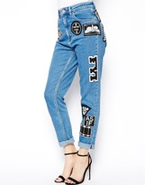 ASOS Farleigh High Waist Slim Mom Jeans In Mid Wash Blue with 90s Mono Badges