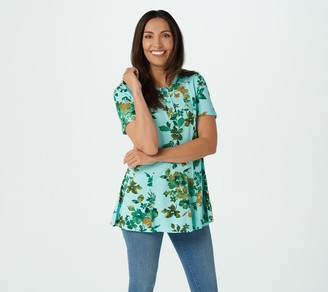 Denim & Co. Petite Printed Jersey Fit & Flare Henley Tunic