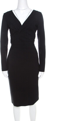 Escada Black Stretch Crepe Pintuck Detail Dinore Sheath Dress M