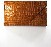 Abas Brown Leather Mock Croc Envelope Clutch Handbag