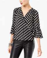 INC International Concepts I.n.c. Dot-Print Surplice Ruffle-Sleeve Blouse, Created for Macy's