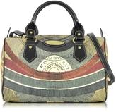 Gattinoni Planetarium Medium Coated Canvas and Leather Satchel Bag