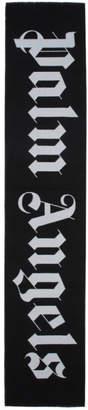 Palm Angels Black Logo Scarf