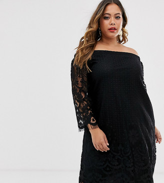 Bardot Lovedrobe All Over Lace Dress With Fringing-Black