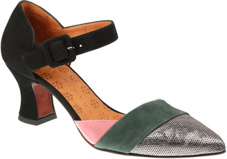 Chie Mihara Votula Mixed Leather Ankle-Strap Pumps