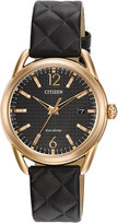 Citizen Women's Drive Black Quilted Leather Strap Watch 34mm FE6083-13E