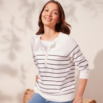 The White Company Cotton-Rich Button Placket Jumper, Multi, Extra Small