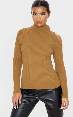 PrettyLittleThing Camel Cut Out Shoulder Rib Knit Jumper