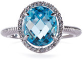 Judith Ripka Oval Sky-Blue Crystal & Sapphire Cocktail Ring