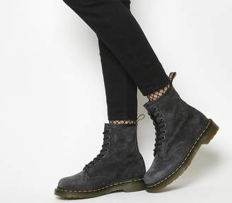 Dr. Martens 8 Eyelet Lace Up Boots Graphite Grey Suede