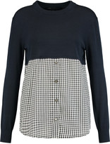 Marc by Marc Jacobs Paneled cotton-jersey and gingham cotton-blend top