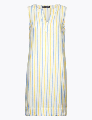 Marks and Spencer PETITE Linen Striped Shift Dress