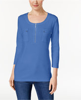 Karen Scott Pocketed Zip-Neck Top, Only at Macy's