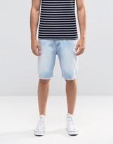 Asos Denim Shorts In Stretch Slim Bleach Wash