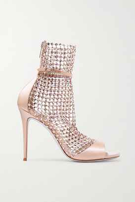 Rene Caovilla Galaxia Crystal-embellished Mesh And Satin Sandals - Blush