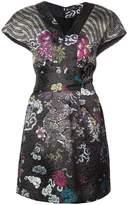 Josie Natori tie waist patterned dress