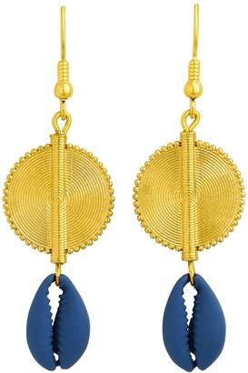 Aflé Bijoux Afle Bijoux Akan Cowrie Shells Earrings - Blue
