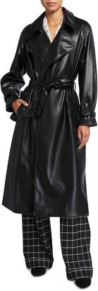 Alice + Olivia Nevada Draped Faux-Leather Midi Coat