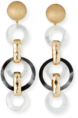 Akola Horn and Mother-of-Pearl Long Earrings