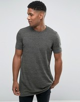 Asos Longline Knitted T-Shirt in Khaki Twist