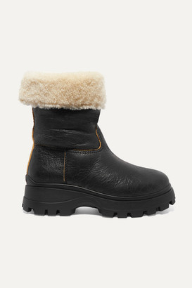 Miu Miu Shearling-lined Cracked-leather Ankle Boots - Black