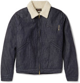 Beams Slim-Fit Faux Shearling-Lined Denim Jacket