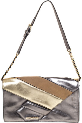 Karl Lagerfeld Paris Metallic Leather and Suede Flap Shoulder Bag